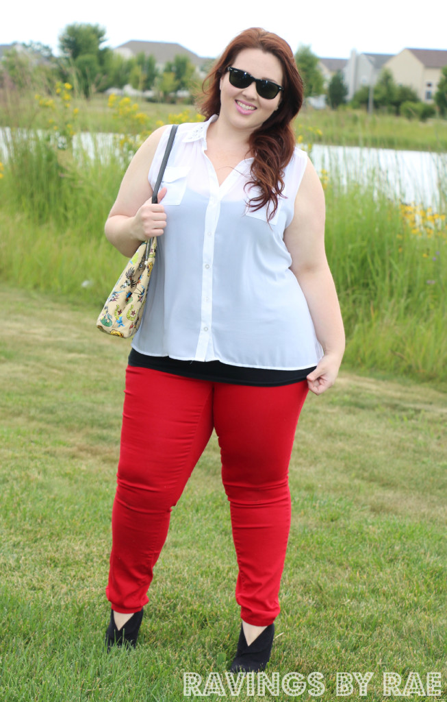 Plus Size OOTD: Rhinestone Collar and Red Skinny Jeans - Sarah Rae