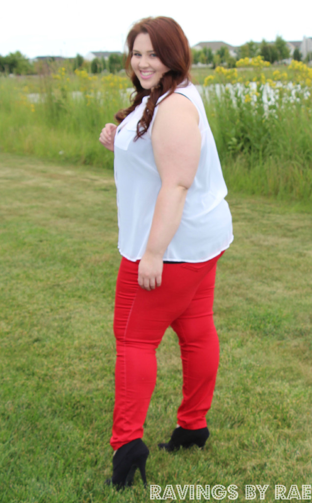 Plus Size OOTD Rhinestone Collar and Red Skinny's 6